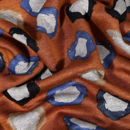 Tissu Jersey Milano Pois destructurés bicolores sur fond Rouille - Par 10 cm