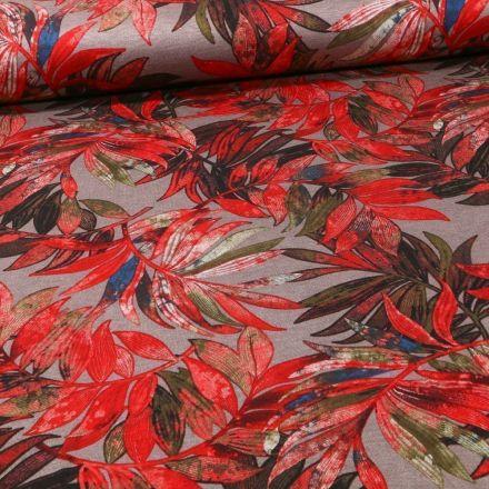 Tissu Jersey Milano Végétations rouges sur fond Taupe - Par 10 cm