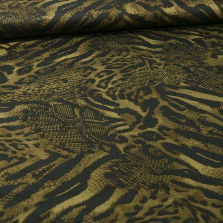 Tissu Tissu Coton Satiné extensible  reptile et félin sur fond Vert kaki - Par 10 cm