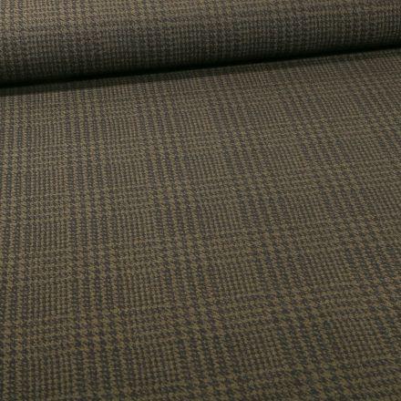 Tissu Bengaline Pied de poule sur fond Vert kaki - Par 10 cm