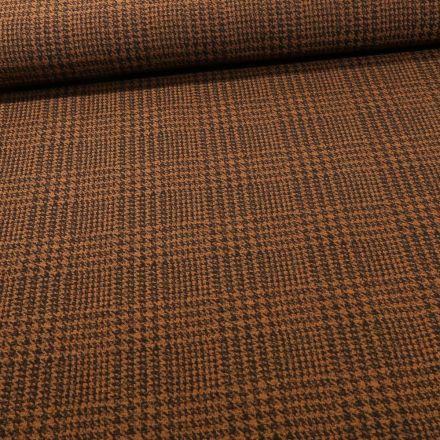 Tissu Bengaline Pied de poule sur fond Ocre - Par 10 cm
