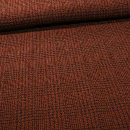 Tissu Bengaline Pied de poule sur fond Brique - Par 10 cm
