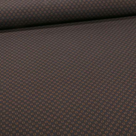 Tissu Bengaline Mini losanges ocres sur fond Noir - Par 10 cm