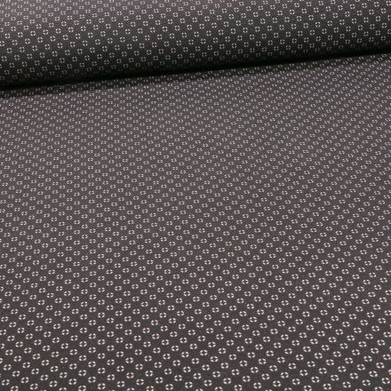 Tissu Bengaline Mini losanges blancs sur fond Noir - Par 10 cm