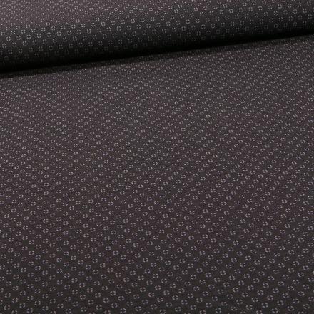 Tissu Bengaline Mini losanges gris sur fond Noir - Par 10 cm