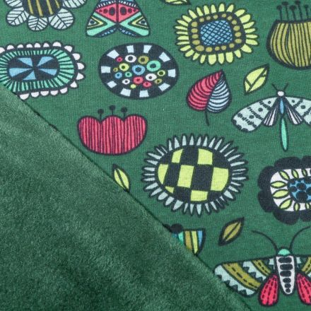 Tissu Sweat envers minky  Fleurs et insectes sur fond Vert - Par 10 cm