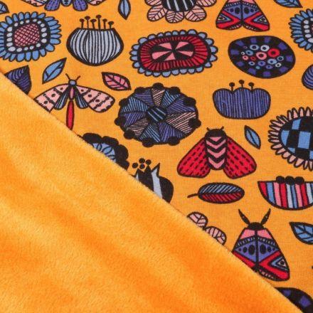 Tissu Sweat envers minky  Fleurs et insectes sur fond Jaune - Par 10 cm