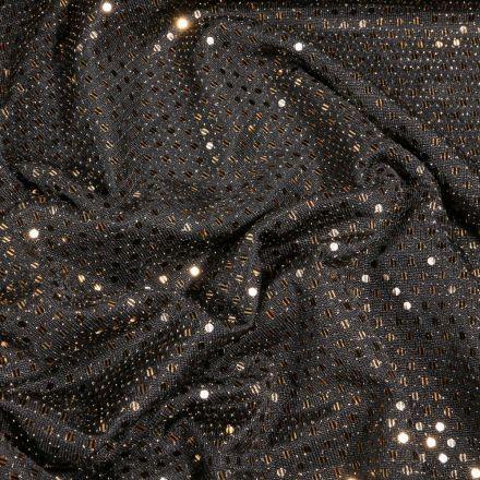 Tissu Jersey sequins bronze sur fond Noir - Par 10 cm