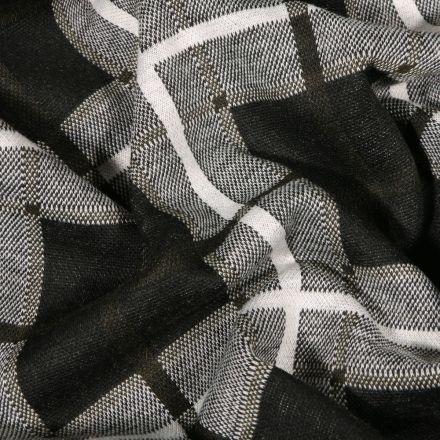 Tissu Maille Jersey  Carreaux et carré sur fond Gris - Par 10 cm