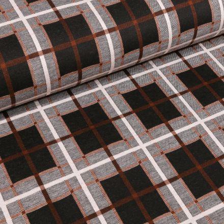 Tissu Maille Jersey  Carreaux et carré ocre sur fond Gris chiné - Par 10 cm