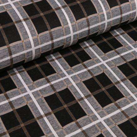 Tissu Maille Jersey  Carreaux et carré beige sur fond Gris chiné - Par 10 cm