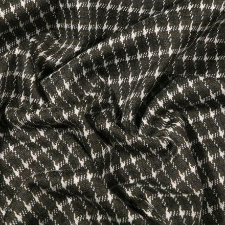 Tissu Maille Jersey  Petit pied de poule sur fond Vert foncé - Par 10 cm