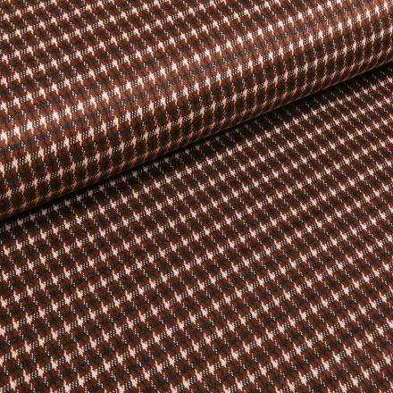 Tissu Maille Jersey  Petit pied de poule sur fond Rouille - Par 10 cm