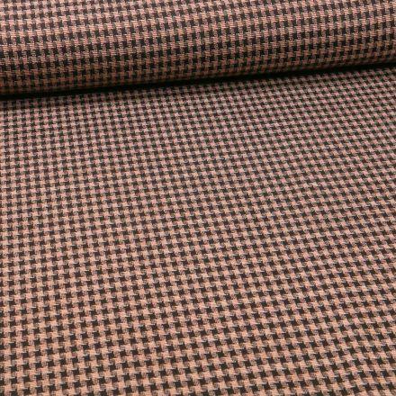 Tissu Maille carreaux sur fond Ocre - Par 10 cm
