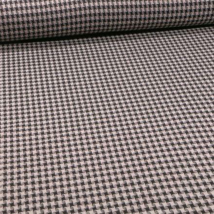 Tissu Maille carreaux sur fond Taupe - Par 10 cm