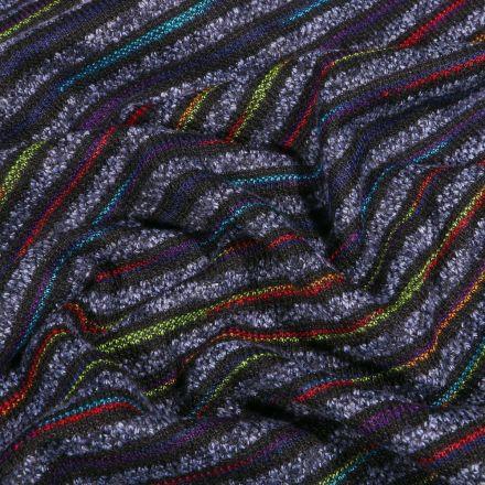 Tissu Maille épaisse Rayures colorées sur fond Bleu indigo - Par 10 cm