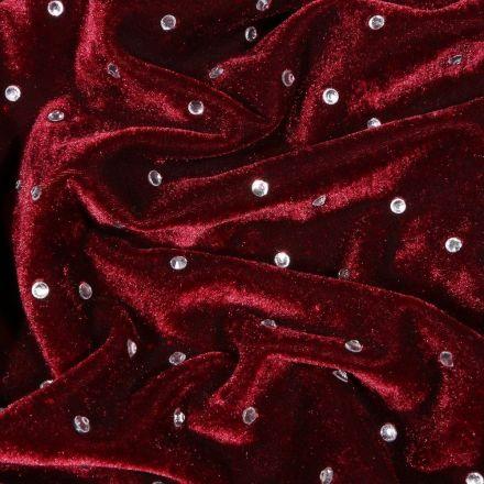 Tissu Velours Jersey Strass Bordeaux - Par 10 cm