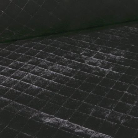 Tissu Doudoune matelassé velours Julie sur fond Noir - Par 10 cm
