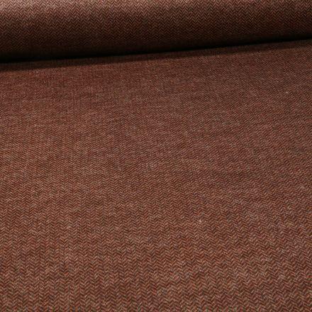 Tissu Jersey Milano toucher laine Chevrons sur fond Brique - Par 10 cm