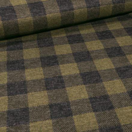Tissu Maille Polyviscose touché laine Carreaux sur fond Vert kaki - Par 10 cm