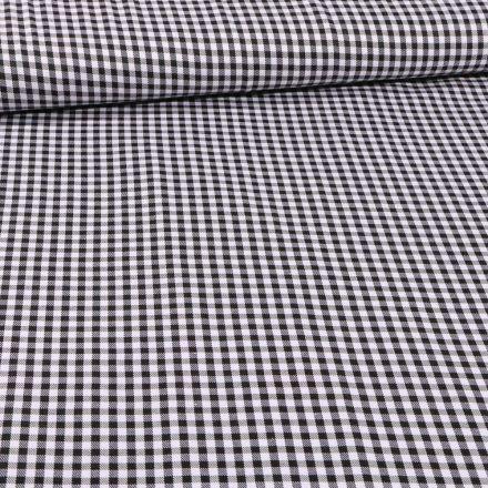 Tissu Tailleur Petits carreaux noirs sur fond Blanc - Par 10 cm