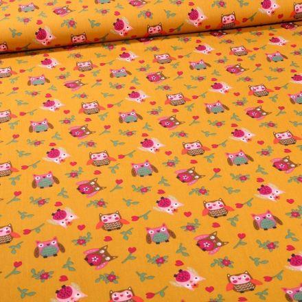 Tissu Coton imprimé LittleBird Chouette sur fond Jaune - Par 10 cm