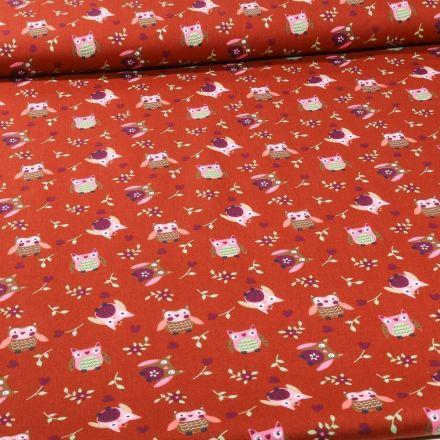 Tissu Coton imprimé LittleBird Chouette sur fond Brique - Par 10 cm