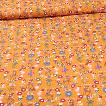 Tissu Coton imprimé Faons et couronnes de fleurs sur fond Jaune curcuma - Par 10 cm