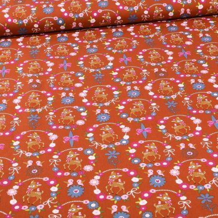 Tissu Coton imprimé Faons et couronnes de fleurs sur fond Brique - Par 10 cm