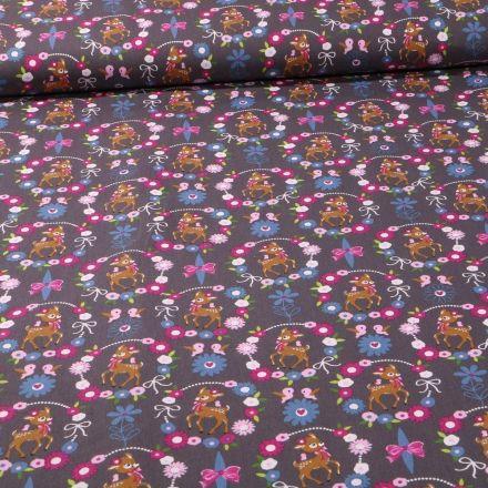 Tissu Coton imprimé Faons et couronnes de fleurs sur fond Gris foncé - Par 10 cm