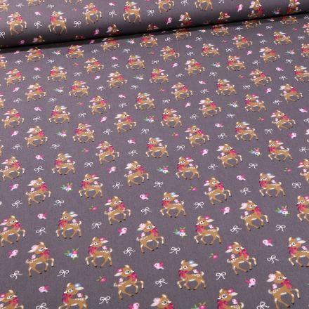 Tissu Coton imprimé Biches coquettes sur fond Gris foncé - Par 10 cm