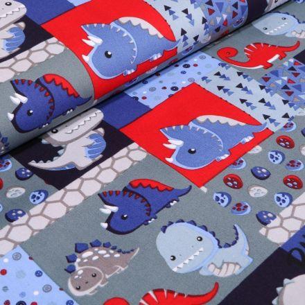 Tissu Coton imprimé LittleBird Baby Dino rouge sur fond Gris - Par 10 cm