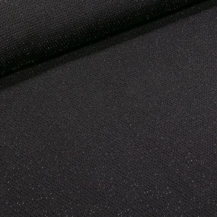 Tissu Jersey pailleté argent sur fond Noir - Par 10 cm