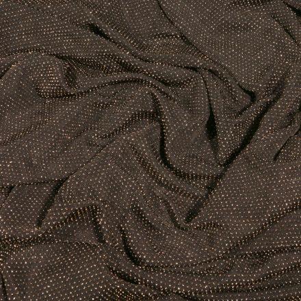 Tissu Jersey pailleté or sur fond Noir - Par 10 cm