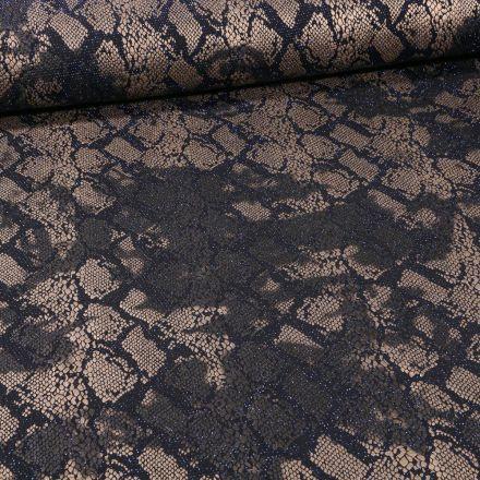 Tissu Jersey Pailleté  reptile sur fond Bleu - Par 10 cm