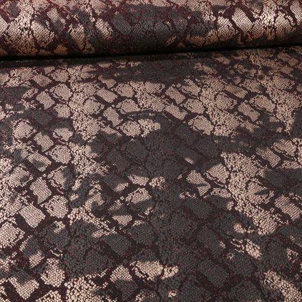 Tissu Jersey Pailleté  reptile sur fond Rouge - Par 10 cm