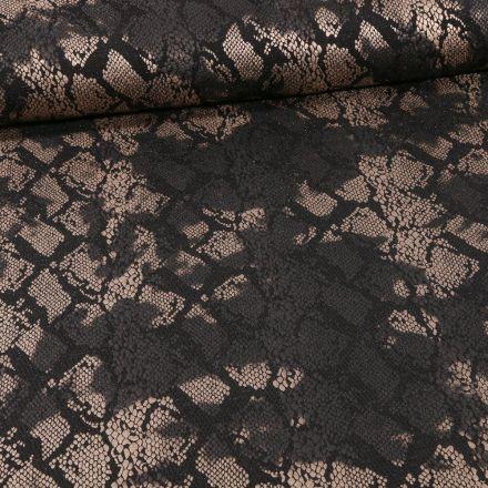 Tissu Jersey Pailleté  reptile sur fond Noir - Par 10 cm