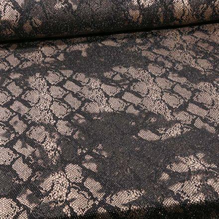 Tissu Jersey Pailleté  reptile sur fond Argent - Par 10 cm