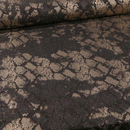 Tissu Jersey Pailleté  reptile sur fond Or - Par 10 cm