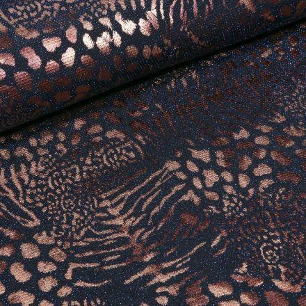 Tissu Jersey  Léopard métallisé paillettes bleues sur fond Noir - Par 10 cm