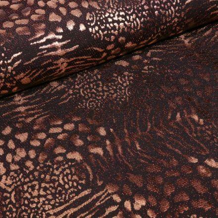 Tissu Jersey  Léopard métallisé paillettes rouges sur fond Noir - Par 10 cm