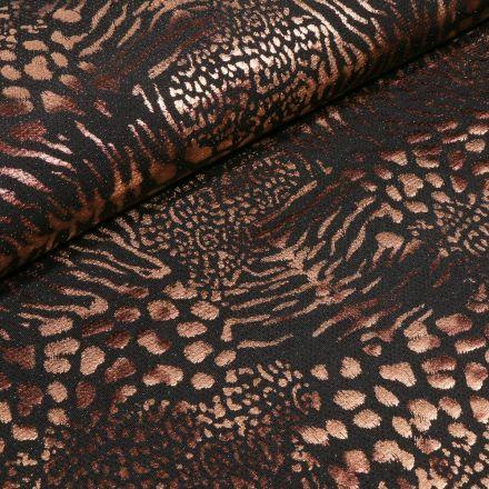 Tissu Jersey  Léopard métallisé paillettes noires sur fond Noir - Par 10 cm