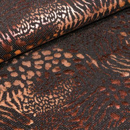 Tissu Jersey  Léopard métallisé paillettes argentées sur fond Noir - Par 10 cm