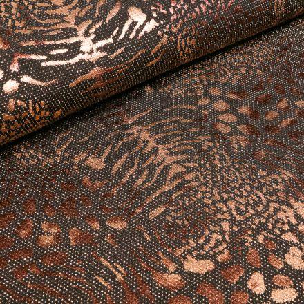 Tissu Jersey  Léopard métallisé paillettes roses sur fond Noir - Par 10 cm
