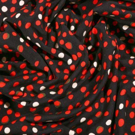 Tissu Jersey Coton Petits pois rouge et blanc sur fond Noir - Par 10 cm