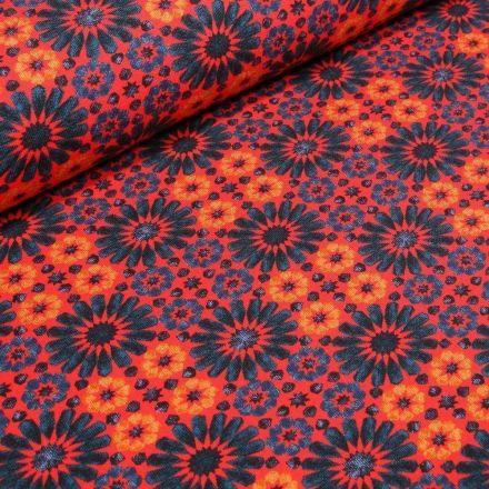 Tissu Jersey Coton Marguerites stylisées sur fond Orange - Par 10 cm