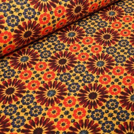 Tissu Jersey Coton Marguerites stylisées sur fond Jaune - Par 10 cm