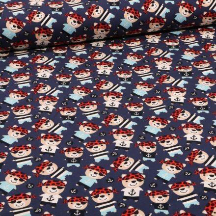 Tissu Jersey Coton Teddy pirates sur fond Bleu marine - Par 10 cm