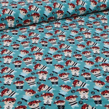 Tissu Jersey Coton Teddy pirates sur fond Bleu pétrole - Par 10 cm