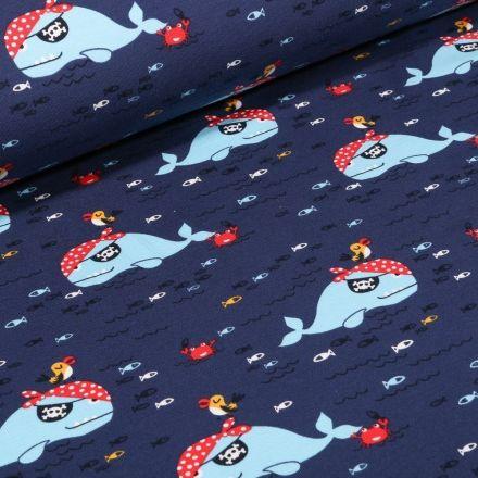 Tissu Jersey Coton envers gratté Baleines pirates sur fond Bleu marine - Par 10 cm